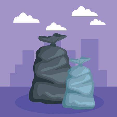 two garbage bag icon cartoon outdoor with colorful cityscape silhouette with skyscraper and clouds vector illustration graphic design