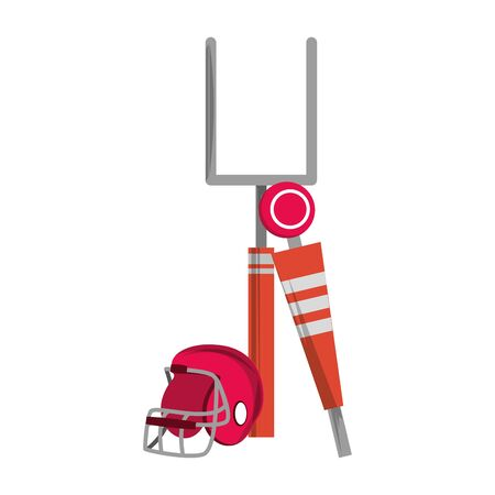american football sport game goal post with helmet and sideline cartoon vector illustration graphic design Ilustracja