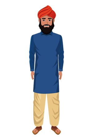indian man with moustache, beard and turban wearing traditional hindu clothes profile picture avatar cartoon character portrait vector illustration graphic design