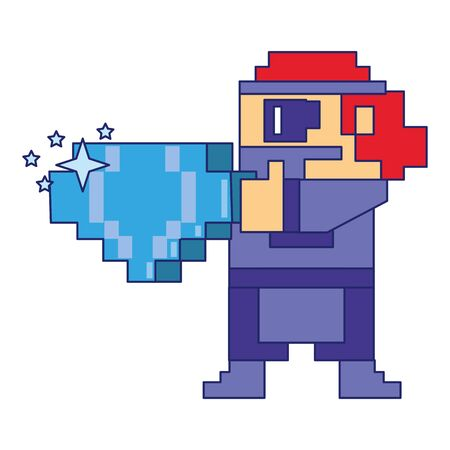 Video Game pixelated character with diamond vector illustration graphic design Stock Illustratie