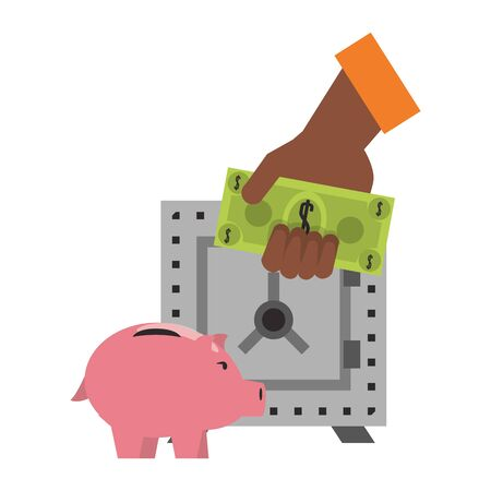 Money piggy and strongbox with hand holding cash vector illustration Иллюстрация