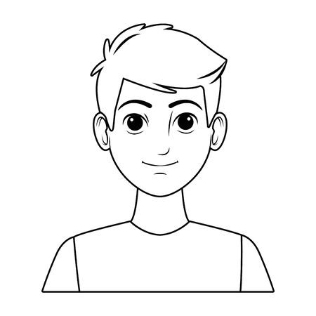 young man wearing a blue t-shirt avatar cartoon character in black and white vector illustration graphic design