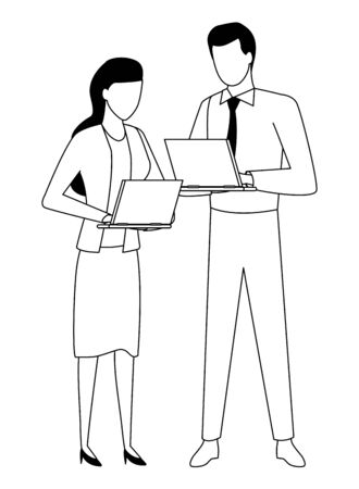 Business partners working with office laptops in black and white isolated faceless avatar vector illustration graphic design