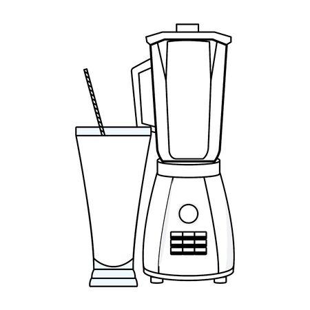 Refreshment fruit juice and blender drink preparation vector illustration graphic design