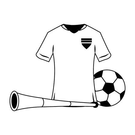 Soccer sport game tshirt ball and horn isolated vector illustration graphic design Stock Illustratie