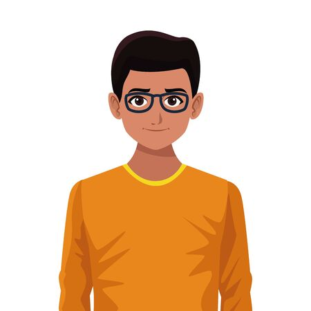 indian asian religion oriental culture, young man wearing glasses isolated cartoon vector illustration graphic design
