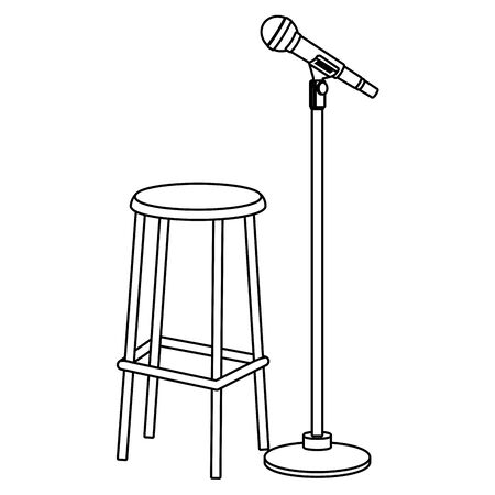 microphone and chair icon cartoon black and white vector illustration graphic design