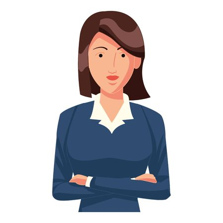 businesswoman with short hair avatar cartoon character profile picture portrait vector illustration graphic design