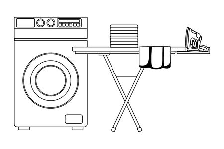 laundry wash and cleaning folded clothes and iron over an ironing board next to a washing machine icon cartoon in black Illustration