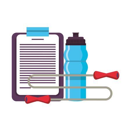 Fitnessgeräte Training Gesundheit und Logbuch Springseil Wasserflasche Symbole Vektor-Illustration Grafikdesign