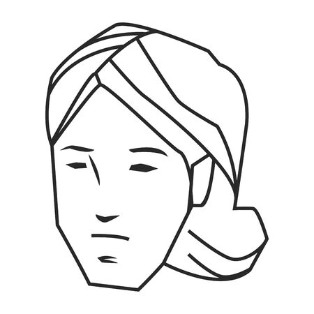 woman face avatar without expresion in black and white cartoon character vector illustration graphic design