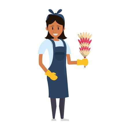 Cleaner woman worker with cobweb brush vector illustration graphic design. Illustration