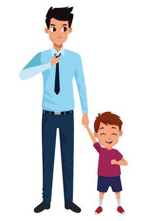 Padre soltero de la familia e hijo pequeño sonriente diseño gráfico del ejemplo del vector de la historieta