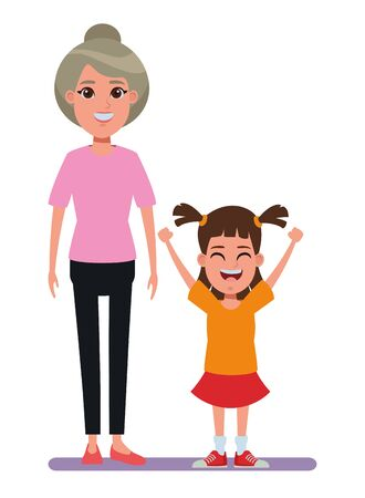 family avatar grandmother with bun next to a child profile picture cartoon character portrait vector illustration graphic design