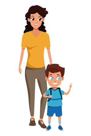 Family single mother with son holding school backpack vector illustration graphic design