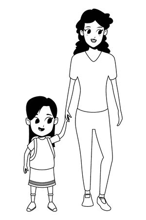 Family single mother with kid daughter holding school backpack isolated vector illustration graphic design