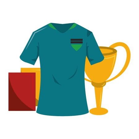 Soccer sport game tshirt referee cards and trophy cup isolated vector illustration graphic design Stock Illustratie