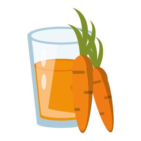 healthy drink juice carrot nature glass cartoon vector illustration graphic design Ilustração