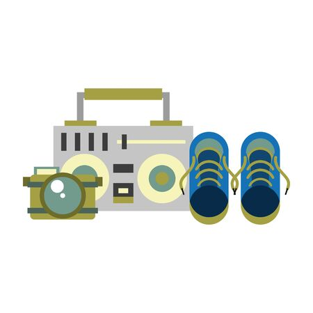 accessories for tourism and vacations and stereo camera and sneakers isolated symbols Vector design illustration