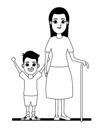 family avatar grandmother with cane next to a child profile picture cartoon character portrait in black and white vector illustration graphic design