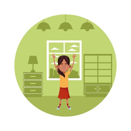 little kid girl with hands up avatar cartoon character portrait in round icon with indoor house background