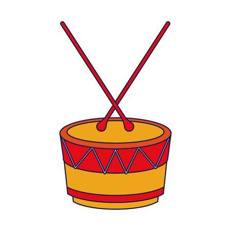 music instrument musical drum object cartoon vector illustration graphic design Stock Vector - 130263582