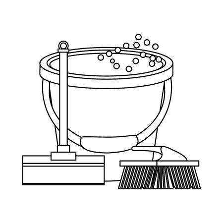 Cleaning equipment and products bucket with water and brush with mop vector illustration graphic design. Иллюстрация