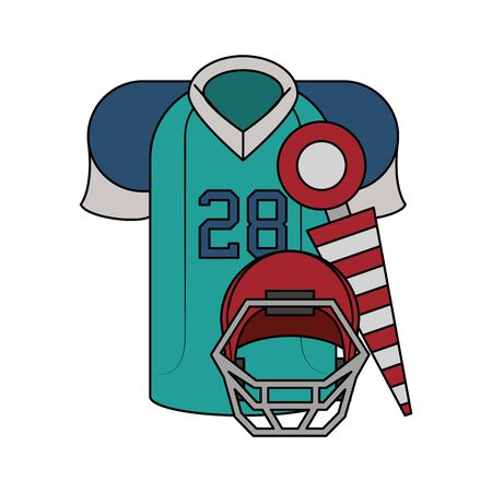 american football sport game, jersey player uniform with game objects cartoon vector illustration graphic design