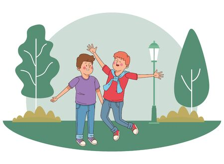 teenager friends boys jumping and smiling in the park, outdoors scenery background vector illustration graphic design. Иллюстрация