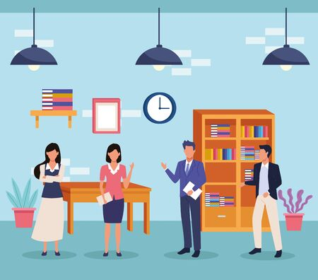 business professional executive office successful work, teamwork working for project idea cartoon vector illustration graphic design