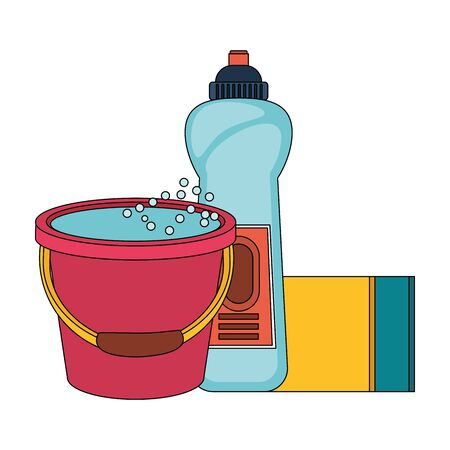Cleaning equipment and products soap bottle and sponge with water bucket vector illustration graphic design.