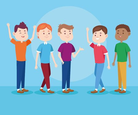 Young teenagers smiling and greeting with casual clothes on blue background, set of characters. vector illustration graphic design. Illustration