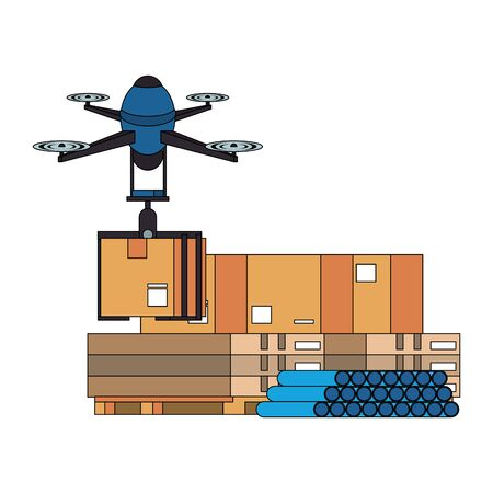 air drone remote control technology device delivery and logistic process with cardboard boxes in merchandise storage cartoon vector illustration graphic design Çizim