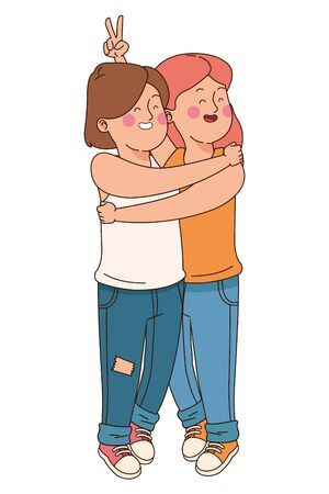 teenager friends women smiling and greeting isolated,vector illustration graphic design.