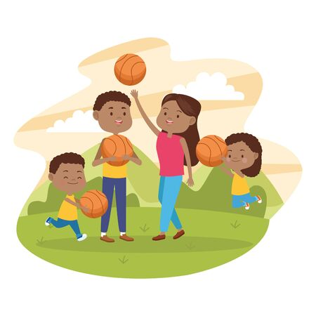 Family father and mother having fun with childrens and basketball game vector illustration graphic.