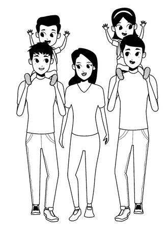 Los padres jóvenes de la familia y los padres de las madres con los niños que sostienen las mochilas escolares de dibujos animados aislaron el diseño gráfico del ejemplo del vector