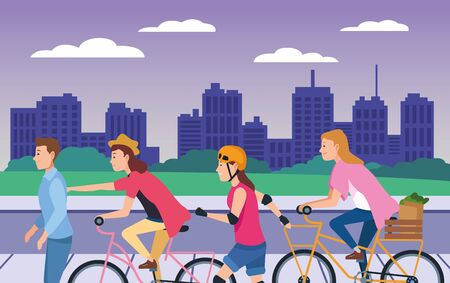 Young people riding on bikes, electric scooter and skates with accesories in the city ,vector illustration graphic design. Иллюстрация