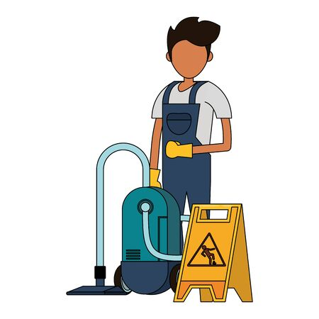 Cleaner worker man smiling with cleaning products and equipment vector illustration graphic design. Ilustração