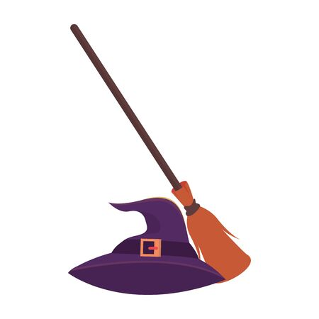 halloween witch broom and hat vector illustration design
