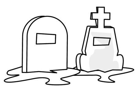 halloween cemetery graveyard isolated icon vector illustration design