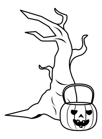 halloween pumpkin with tree plant vector illustration design