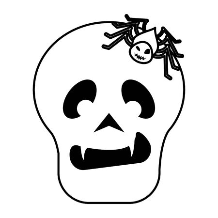 halloween spider insect with skull head vector illustration design