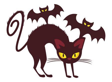 halloween bats flying with cat vector illustration design
