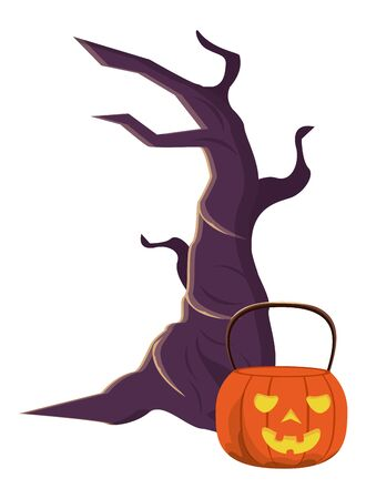 halloween pumpkin with tree plant icon vector illustration design
