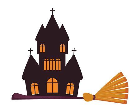 halloween dark castle building with broom vector illustration design 向量圖像