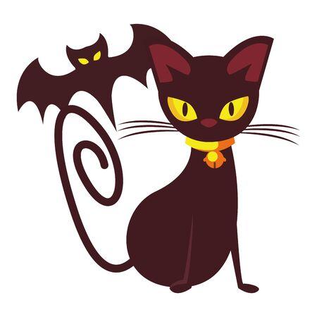 halloween bat flying with cat animals vector illustration design