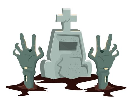 halloween cemetery graveyard with zombie hand vector illustration design Stock Illustratie