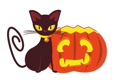 halloween pumpkin with cat animal vector illustration design