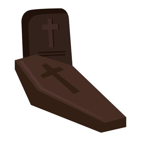 halloween cemetery cross graveyard with coffin vector illustration design
