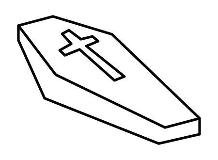halloween wooden coffin isolated icon vector illustration design